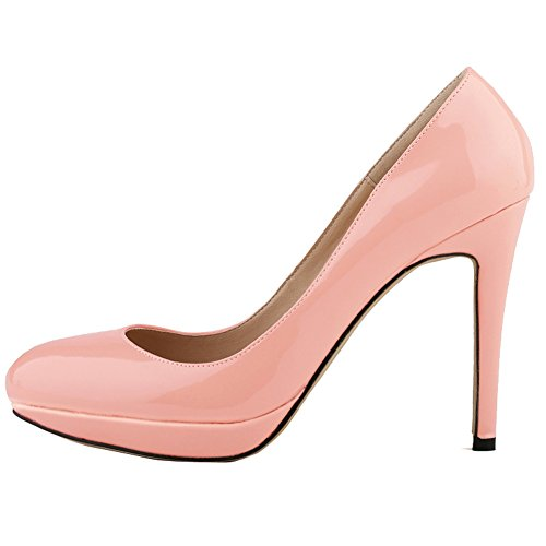 Toe Platform Pumps Dress Womens Leather Patent Thin Candy High Heel Shoes Dethan Pink Fashion Color Pointed w8RUqwI