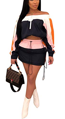 Famnbro Women Summer Tracksuit 2 Piece Outfits Strapless Long Sleeve Jacket and Drawstring Dress Sportsuit