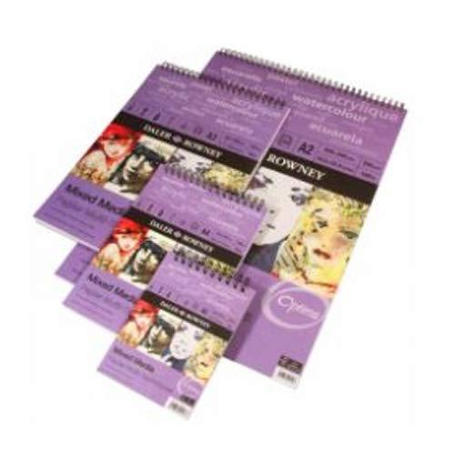 con 30 Hojas de Papel de 250 g//m2 de Grano Fino /Álbum Espiral ideal para T/écnicas Mixtas DALER ROWNEY Dr.Optima de Formato 29,7 x 42 cm