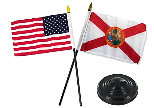 ALBATROS Florida State with USA American Flag 4 inch x 6 inch Desk Set Table Stick with Black Base for Home and Parades, Official Party, All Weather Indoors Outdoors -