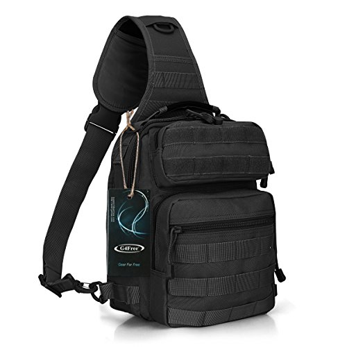 G4Free Outdoor Tactical Sling Backpack, Military Sport Daypack Shoulder One Strap Small Backpack for Camping, Hiking, Trekking, Rover Molle Chest Pack(Black)