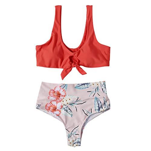 Women Floral Print Push-Up Padded Bra Beach Bikini Set Swimsuit Beachwear Hot Pink