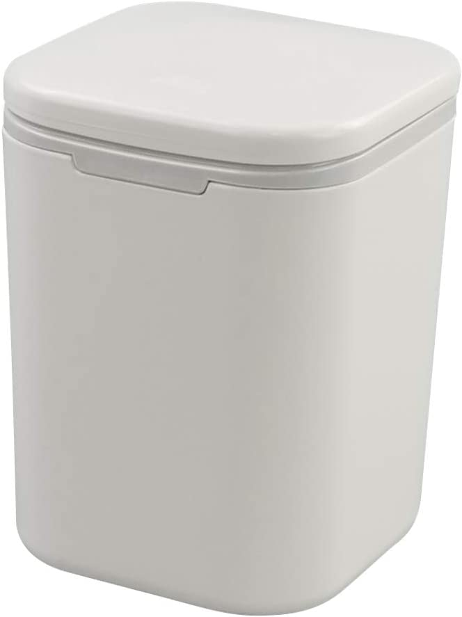 Joyeen Small Garbage Can, Plastic Desktop Trash Can with Lid (White)