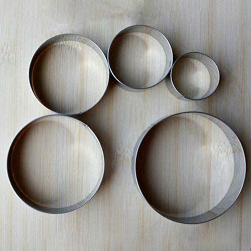 CHENTAOCS ステンレス鋼のビスケットの金型ポータブル丸形のケーキフォンダン金型キッチンガジェットベーキングアクセサリークッキーカッターの5pcs (色 : 1 set)