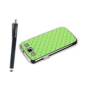 Otterca Green Elegant Rhinestone Bling Hard Skin Back Case Cover for Samsung Galaxy S3 i9300 Chrome Plated With Stylus