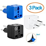 Yubi Power 2 in 1 Universal Travel Adapter with 2 Universal Outlets - Built in Surge Protector - 3 Pack - Black White Blue - Type H for Gaza Strip, Israel & Palestine