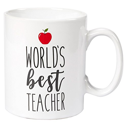 Ceramic Coffee Mug - 16-Ounce Large Novelty Stoneware White Tea Cup - World's Best Teacher with Red Apple - Office, Home, Birthday Gift (E Teacher)