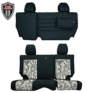 Trek Armor Jeep Seat Covers, Black on Camouflage Rear Bench Seat Covers for 2011 to 2012 Jeep Wrangler Jk. Pair