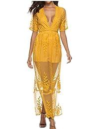 e6641414bb4 Women s Sexy Casual V-Neck Lace Short Sleeve Long Dress