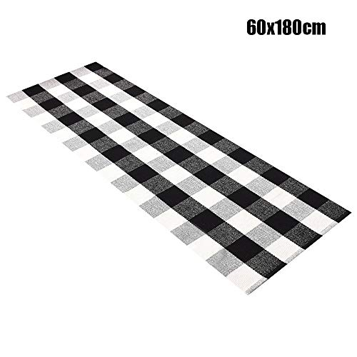 (Baulody Buffalo Check Rug, Black and White Plaid Rugs Cotton Hand-Woven Checkered Carpet Washable Braided Kitchen Rugs and Mat 3'x5'-2'X6'(Feet) (2'x6'(60x180cm), Black&White))