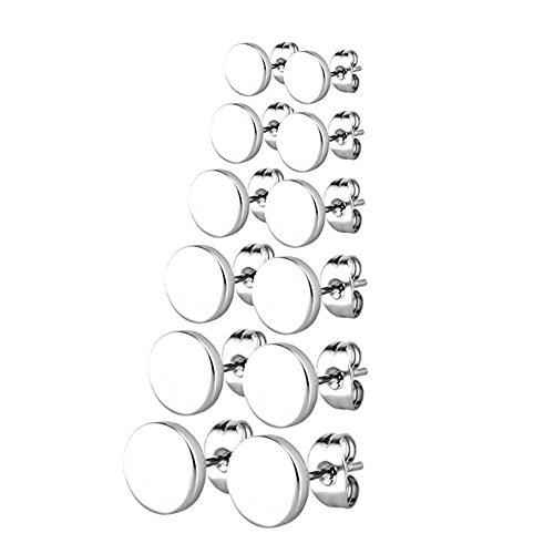 DESCHMUCK Stainless Steel Round Stud Earring Pierced Tunnel Silver 3-8mm 6 Pairs (Homemade Indian Boy Costumes)