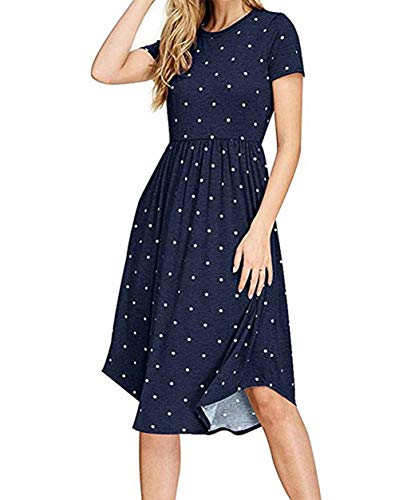 - PALINDA Women's Summer Short Sleeve Pleated Polka Dot Swing Midi Dress with Pockets (Navy Blue,XXL)