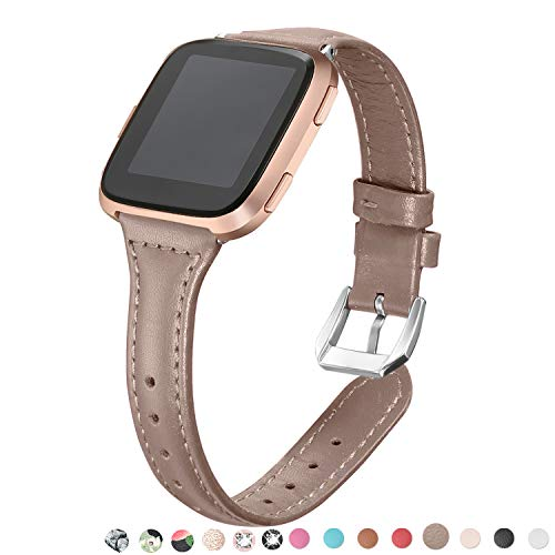 (bayite Bands Compatible Fitbit Versa, Replacement Accessories Strap Slim Genuine Leather Band Women Men, Tan)