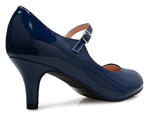 Classic K Shoes Navy Round Adorable Jane Patent OLIVIA Low Vintage Mary Toe Pumps Retro Mid Heels Womens wE66AZdTq
