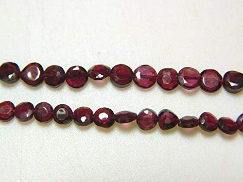 GemAbyss Beads Gemstone 1 Strand Natural Garnet Lot - Garnet Faceted Coin Ronedelles - 5mm Each - 14 Inch Code-MVG-17266