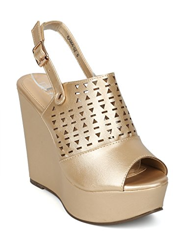 0e713b1ff0 Alrisco Women Leatherette Peep Toe Perforated Slingback Platform Wedge  Sandal HH25