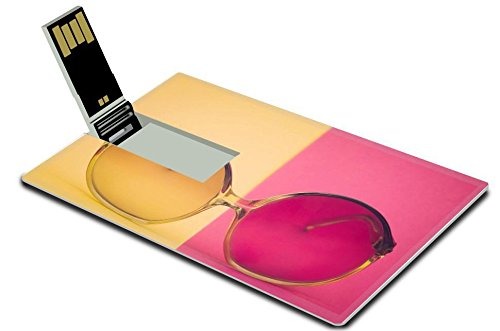Luxlady 32Gb Usb Flash Drive 2 0 Memory Stick Credit Card Size Retro Glasses On Yellow And Pink Surface Image 25583499