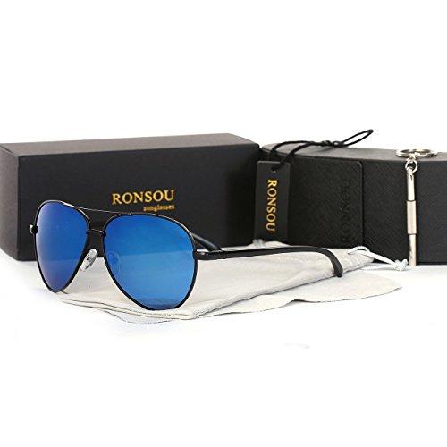 59eab1a0f6 Ronsou Men Women Aviator Polarized Sunglasses Al-Mg Classical eyewear For  Driving Fishing Outdoor black