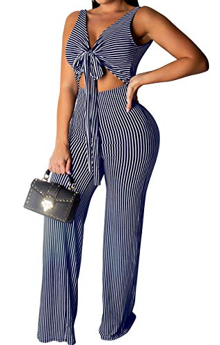 Women's Casual Striped Jumpsuits Sleeveless High Waist Wide Leg Long Pant Rompers from BestGirl