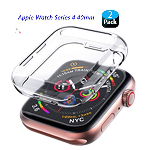 ([2Pack] 40mm iWatch Series 4 Screen Protector Case, Folice Soft Transparent TPU All-Around Cover Protective for Apple Watch Series 4 (40mm))