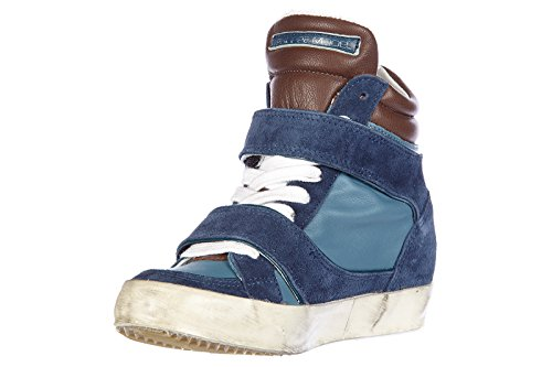 Philippe Model scarpe sneakers alte donna in camoscio nuove piaf edith blu
