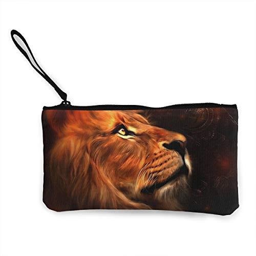 Oomato Canvas Coin Purse Lion Cosmetic Makeup Storage Wallet Clutch Purse Pencil Bag -
