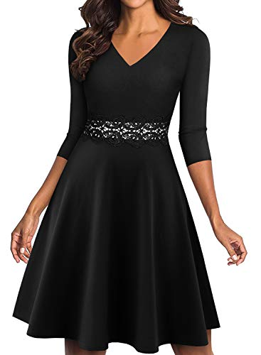 YATHON Women's Elegant Floral Lace Embroidery Flared A-Line Swing Casual Party Cocktail Dresses (S, YT009-Black-3/4 Sleeve) ()