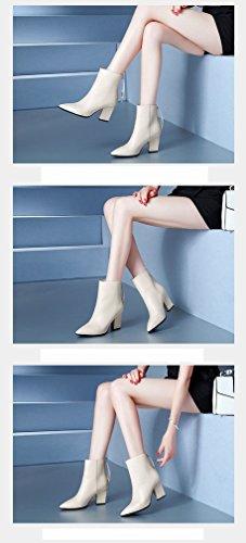 Alti Donna Scarpe da Beige Donna Autunno con e Inverno Ruvide Scarpe Donna Tacchi da ZH da w1SAXqS7
