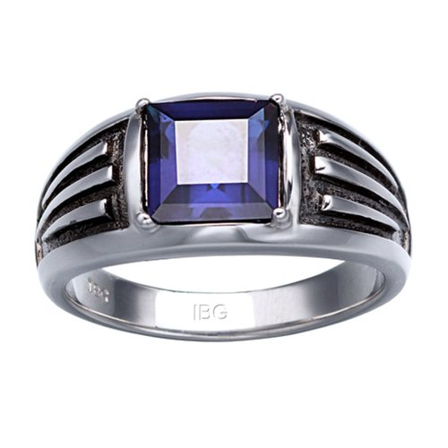 Sapphire Accent Ring (J.Goodman Sterling Silver Created Sapphire Ring with black rhodium accent detail. Finger size 11.5)