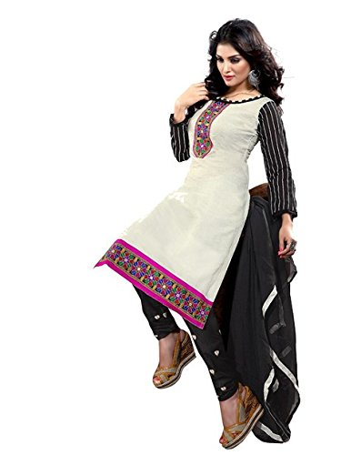 Vibes Women's Cotton Salwar Suit Dress Material – Free Size, White