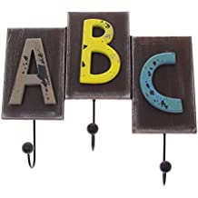 Vintage Style Coat/Robe and Hat Wall Hook - 3-Hook ABC Design