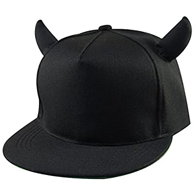 YYF Men Women Snapback Baseball Cap Hip Hop Hat Black Devil Horns