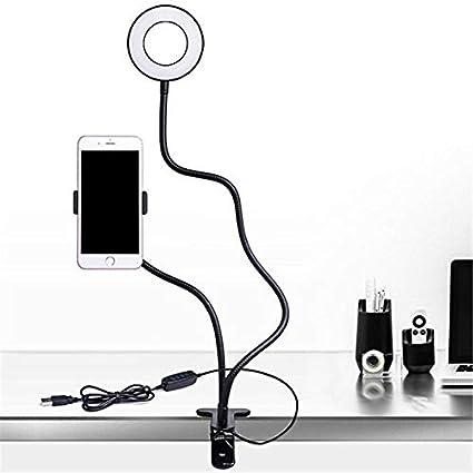 Supporto Per Telefono Cellulare Con Lampada Da Tavolo A Led Ufficio Video Cucina Universale Rotante A 360 Gradi Porta Cellulare In Genere Nero Amazon It Elettronica