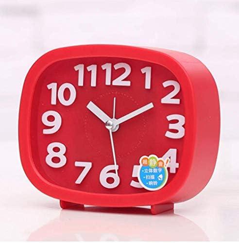 目覚まし時計、ナイトライト付き3インチクォーツアナログ目覚まし時計、超小型、カチカチ音がしないサイレント(赤)