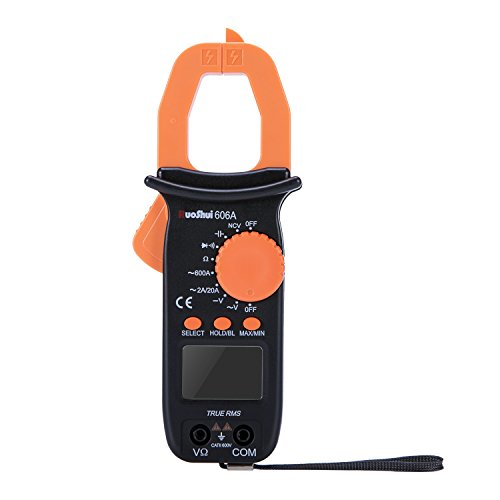 Digital Clamp-On Meter, Ruoshui 1.26 Inch Jaw Opening Auto Ranging Multimeters MAX Range AC 600 Amp AC DC 600 Volt 1000 Micro Farad 20 Mega Ohm with 2 AAA Batteries & Testing Leads by Ruoshui