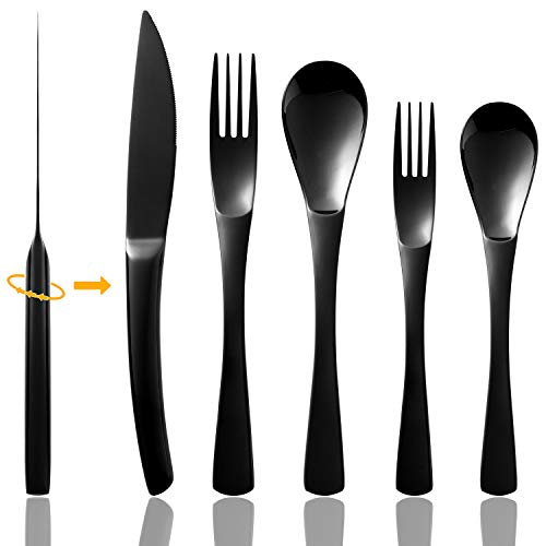 Black Silverware Set, Flatware Set 20 Piece Stainless Steel Cutlery Shiny Dark Utensil Tableware Sets, Include Gunmetal Knife Fork Spoon for Kitchen Service for 4 (Jet Black, No Matte)Dishwasher Safe