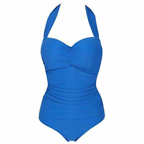 Pure Couleur Sapphire bleu 4XL QPLA Maillot de Bain Femme Bikini,Pure Couleur Sapphire bleu,4XL
