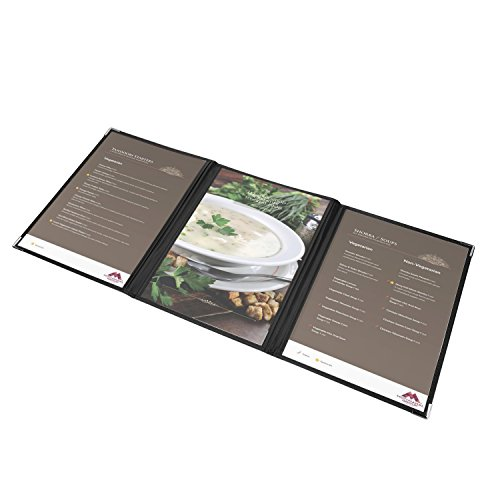 Flexzion Menu Covers Fits 9.4'' x 12.4'' Paper - Restaurant Triple Stitched Folder Sleeves Order Book 3 Pages 6 View with Clear PVC Sheets Black Binding for Deli Cafe Drink Bar (6 Pack) by Flexzion (Image #5)