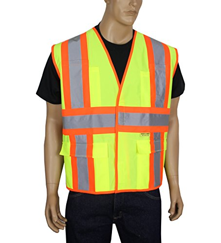 Illuminated Safety Vest - Safety Depot Class 2 Safety Vest Reflective Two Tone Hook & Loop Closure with Pockets Hi Viz ANSI/ISEA 107-2010 V5048 (4XL, Solid Fluorescent Yellow)