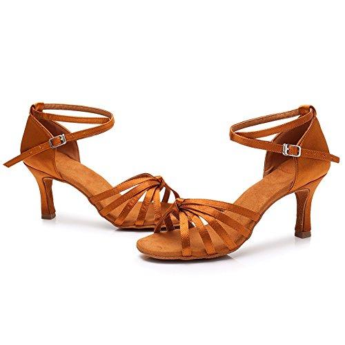SWDZM 7cm de latino para baile Zapatillas baile Modelo D217 baile de Marrón de mujer Tacón Salón Zapatillas estándar CHxSCnW