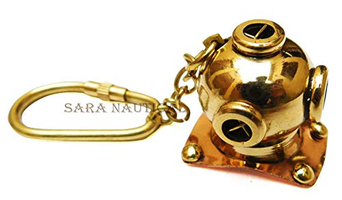 Nautical Keychain Diving Helmet Maritime Keyring Brass Keychain Item for - Helmet Brass Keychain