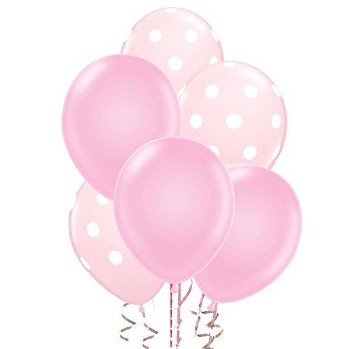 [해외]24 라이트 핑크 일반 및 폴카 도트 풍선 - 미국 제/24 Light Pink Plain and Polka Dot Balloons - Made in USA