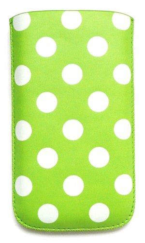 Emartbuy Value Pack Für Apple Iphone 3G / 3Gs Tupfen Grün / Weiß Pu-Leder-Tasche / Case / Sleeve / Halter (Groß) Mit Pull Tab Mechanismus + Kompatibel Kfz-Ladegerät + Lcd Displayschutz
