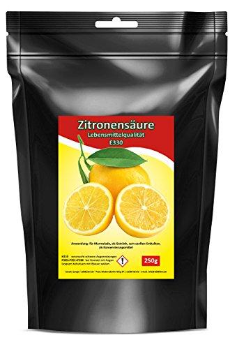 250g Zitronensäure Lebensmittelqualität schwarze Tüte 0,25kg E330 Entkalker Bio Kalklöser krist
