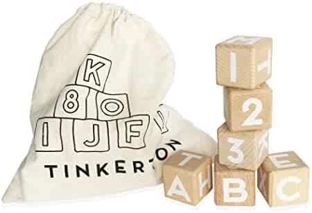"""Tinkerton ABC 123 Blocks: Wood Alphabet Blocks with Numbers - 1.5"""" Wooden Letter & Number Cubes for Stacking, Building & Learning - For Kids 3 Months & Up - 21 Piece Set with Storage Bag"""
