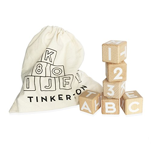 "Tinkerton ABC 123 Blocks: Wood Alphabet Blocks with Numbers - 1.5"" Wooden Letter & Number Cubes for Stacking, Building & Learning - For Kids 3 Months & Up - 21 Piece Set with Storage (Wood Baby Blocks)"