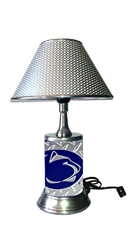 Penn Lamps State - JS Table Lamp with Chrome Colored Shade, Penn State Nittany Lions Plate Rolled in on The lamp Base, Base Wrapped with Diamond Metal Plate