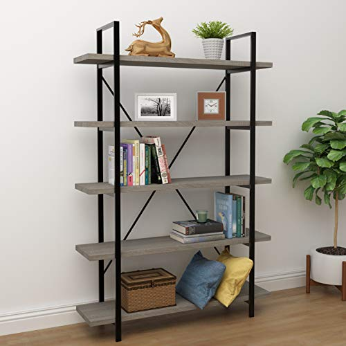 45MinST 5-Tier Vintage Industrial Style Bookcase/Metal and Wood Bookshelf Furniture for Collection,Gray Oak/Brown,3/4/5 Tier (5-Tier)