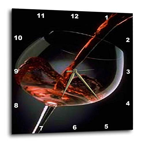 - 3dRose DPP_33209_2 Pour a Glass of Red Wine Wall Clock, 13 by 13