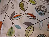Valance Leaf Pattern on Off-white with Blue Orange Gray and Lime Curtain Window Treatment Topper